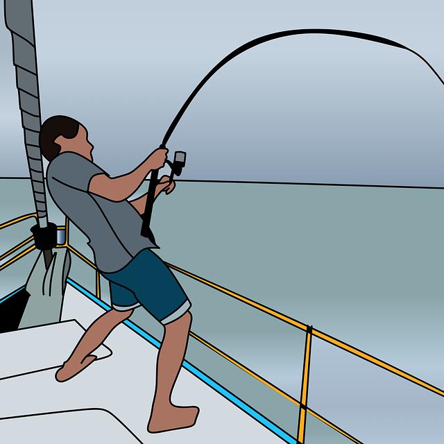 nákres, rybář, loď